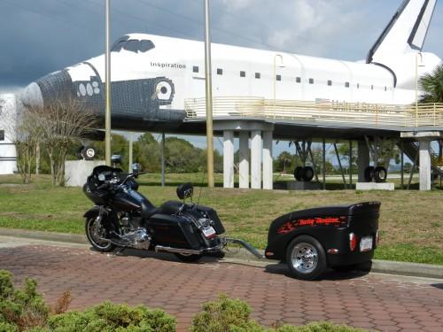 Harley's black motorcycle trailer 2014