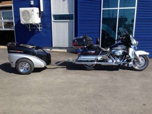 Harley's black and grey motorcycle trailer