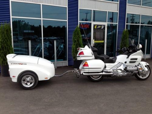 Honda white motorcycle trailer