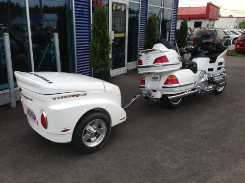 Honda Glodwing white motorcycle trailer